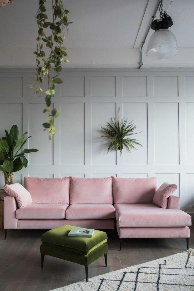 Pin By Katya Petty On Wall Decor Ideas Velvet Corner Sofa Pink Velvet Sofa Living Room Designs