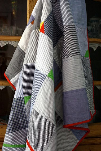 gotta get on making a quilt for my godsons. here's inspiration for a quick design. like the pops of colour.