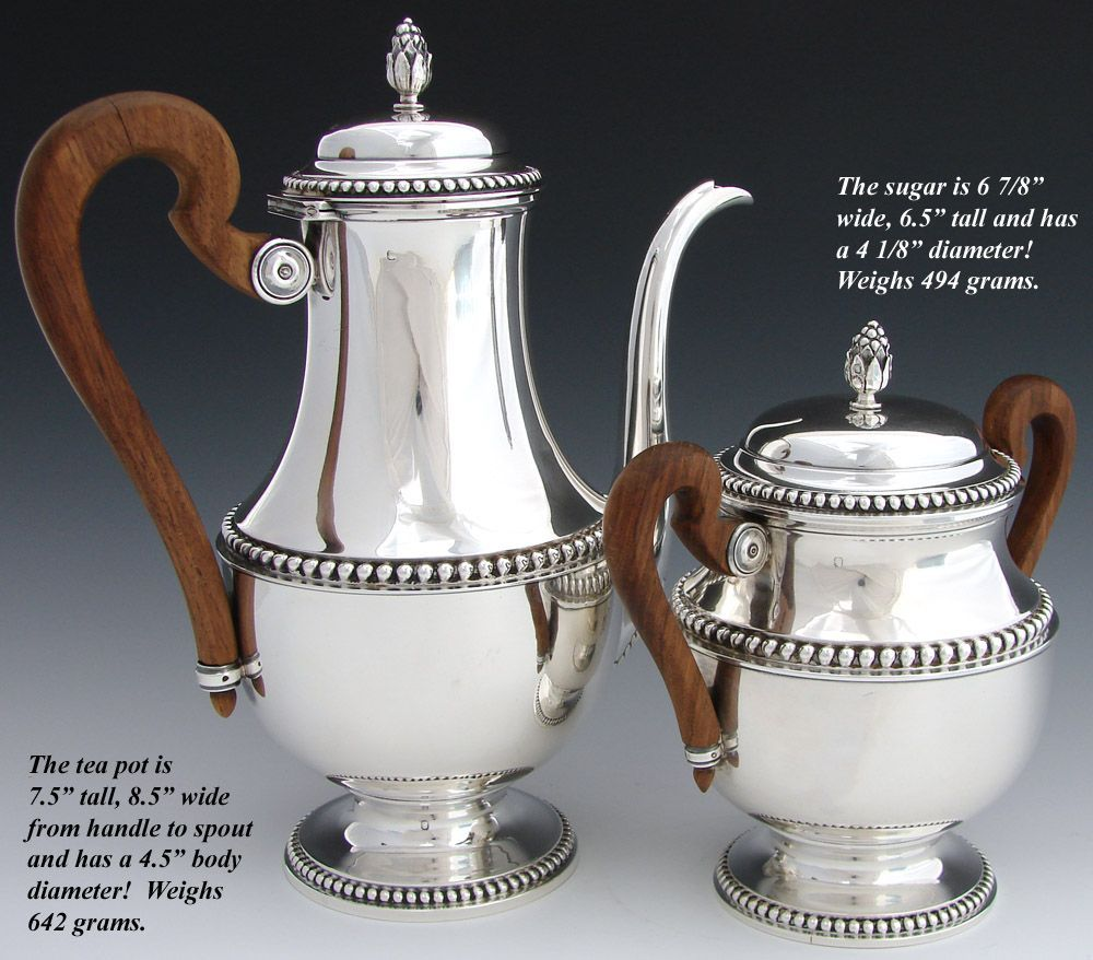 Elegant Antique French Sterling Silver 2pc Coffee or Tea Pot & Sugar