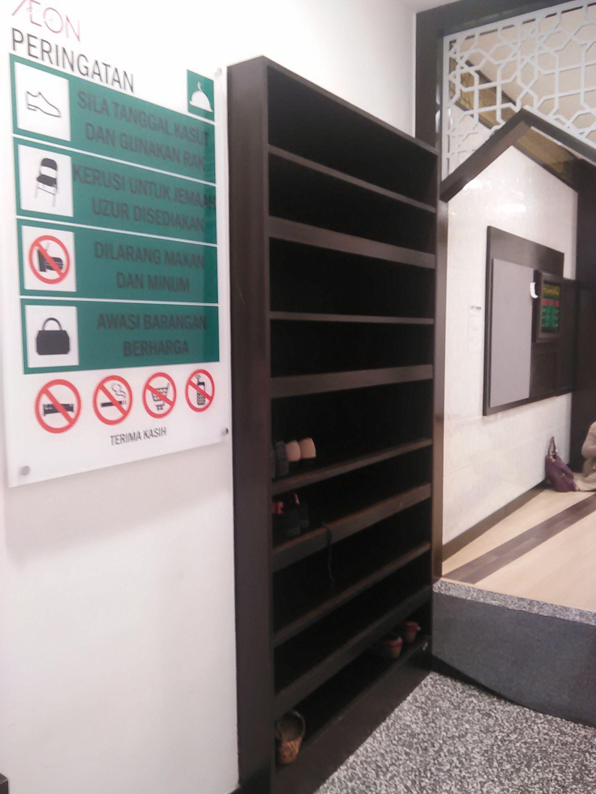 shoe rack & notice board musolla AEON quill city mall