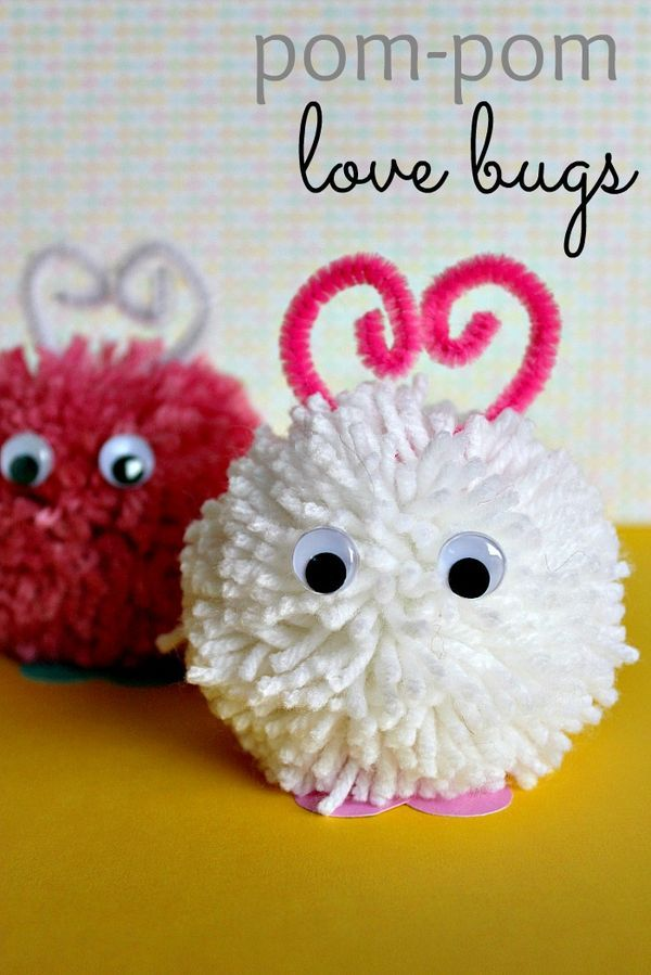 These pom pom love bugs are such a fun craft project for kids to make this Valentine's Day.