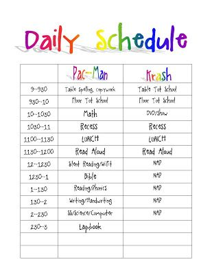 Printable daily routine schedule template clipart autism for Preschool classroom schedule template