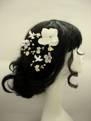 Cho Cream and Ivory Blossom Dove Flower Floral by beyondthewoods