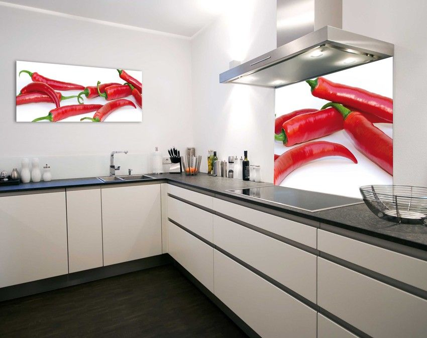 Glasbild Exklusiv Peppig 120x50cm Moderne Kuchenideen Moderne Kuche Glasbilder Kuche