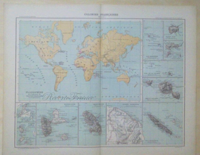 Antique world map 1890 large world map french colonies by antique world map 1890 large world map french colonies by reveriefrance on etsy gumiabroncs Choice Image