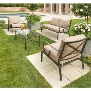 Hampton Bay Granbury 4 Piece Metal Patio Seating Set With Fossil Cushions  D9581 4PC