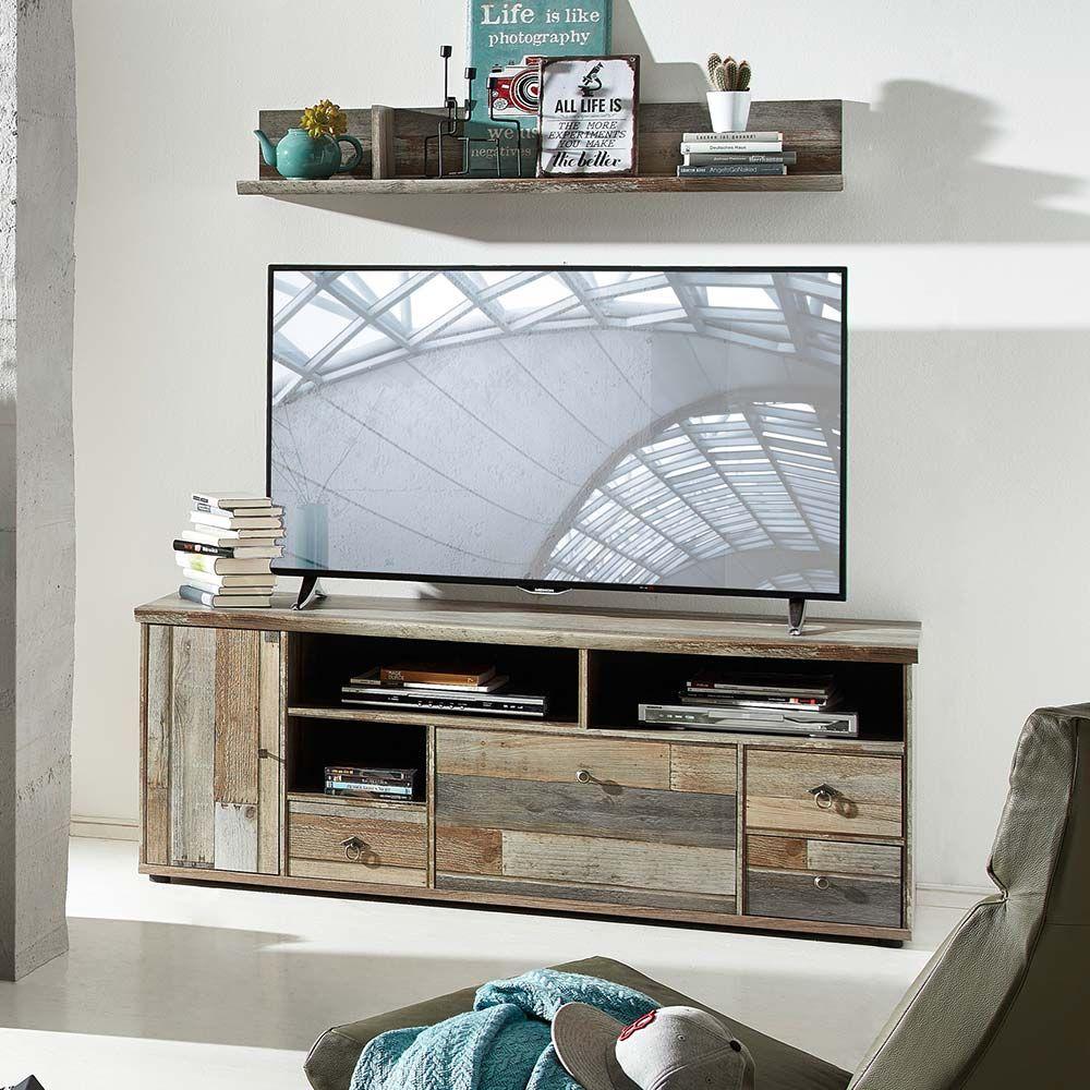 TV Board in Grau Treibholz Dekor Shabby Chic Jetzt bestellen unter