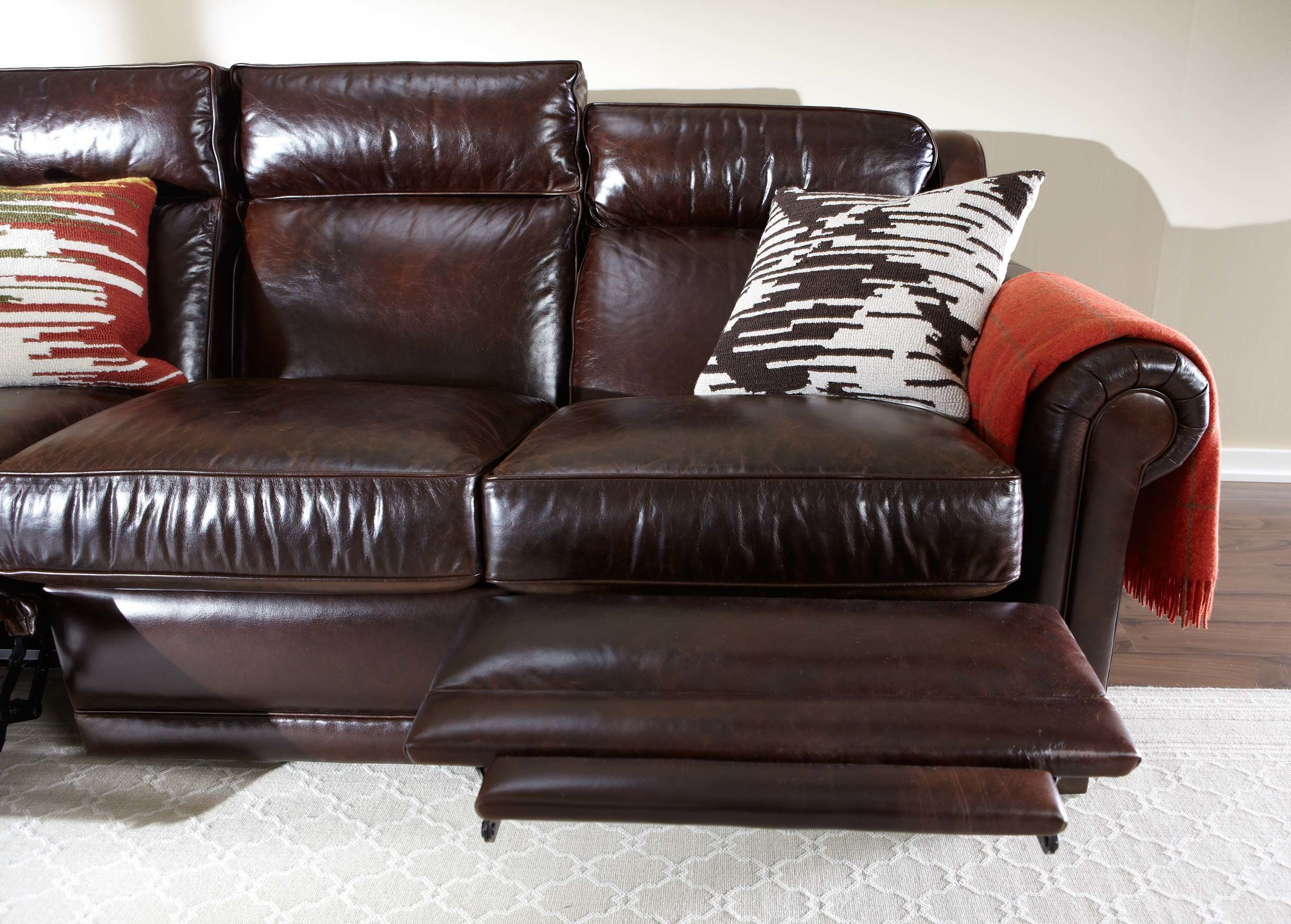 Johnston Roll Arm Leather Incliner Sofa