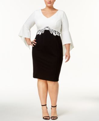 Sangria Plus Size Lace Trim Colorblocked Dress MISC