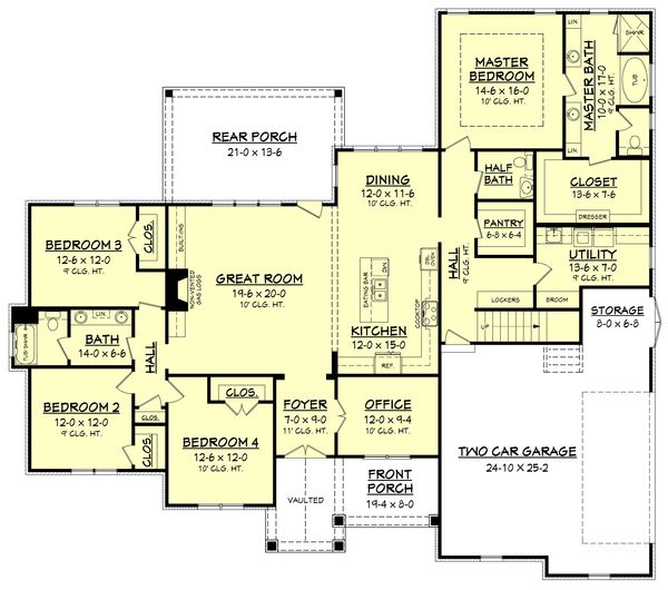 Craftsman Style House Plan - 4 Beds 25 Baths 2641 Sq/Ft Plan #430