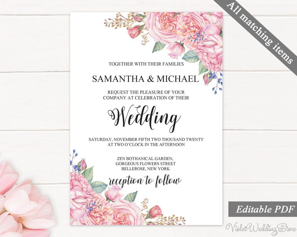 Pink Roses Wedding Invitation Set Template Printable Floral Wedding