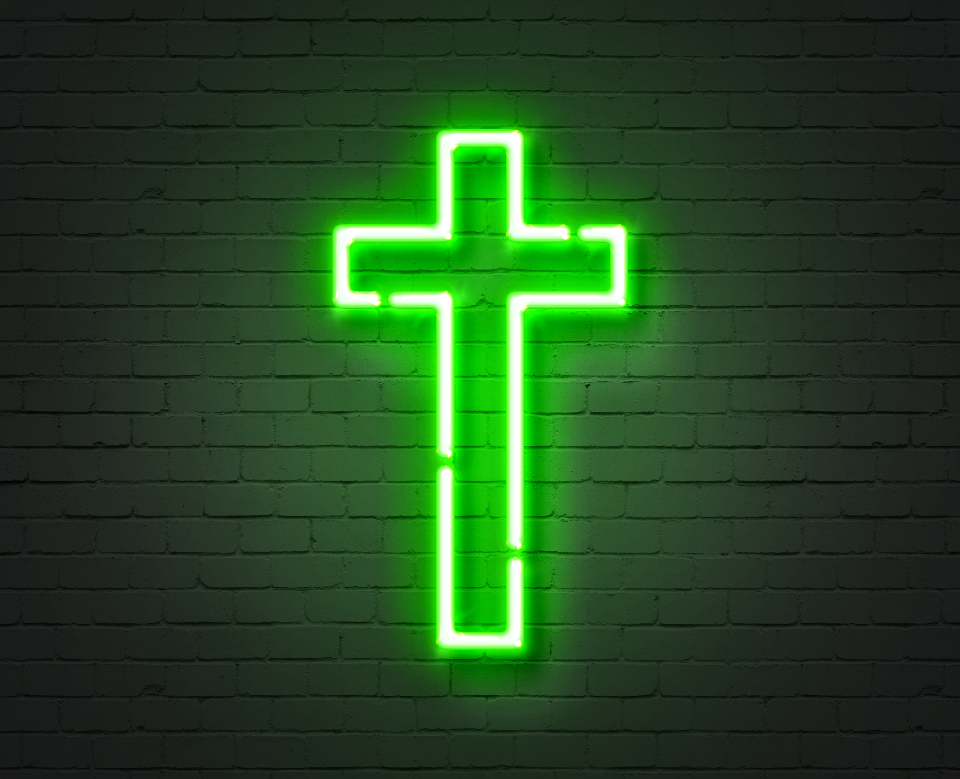 Green neon cross Sign of Christianity jesus christianity