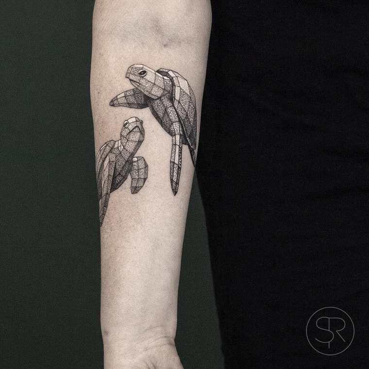 low poly les jolis tatouages de sven rayen animaux. Black Bedroom Furniture Sets. Home Design Ideas
