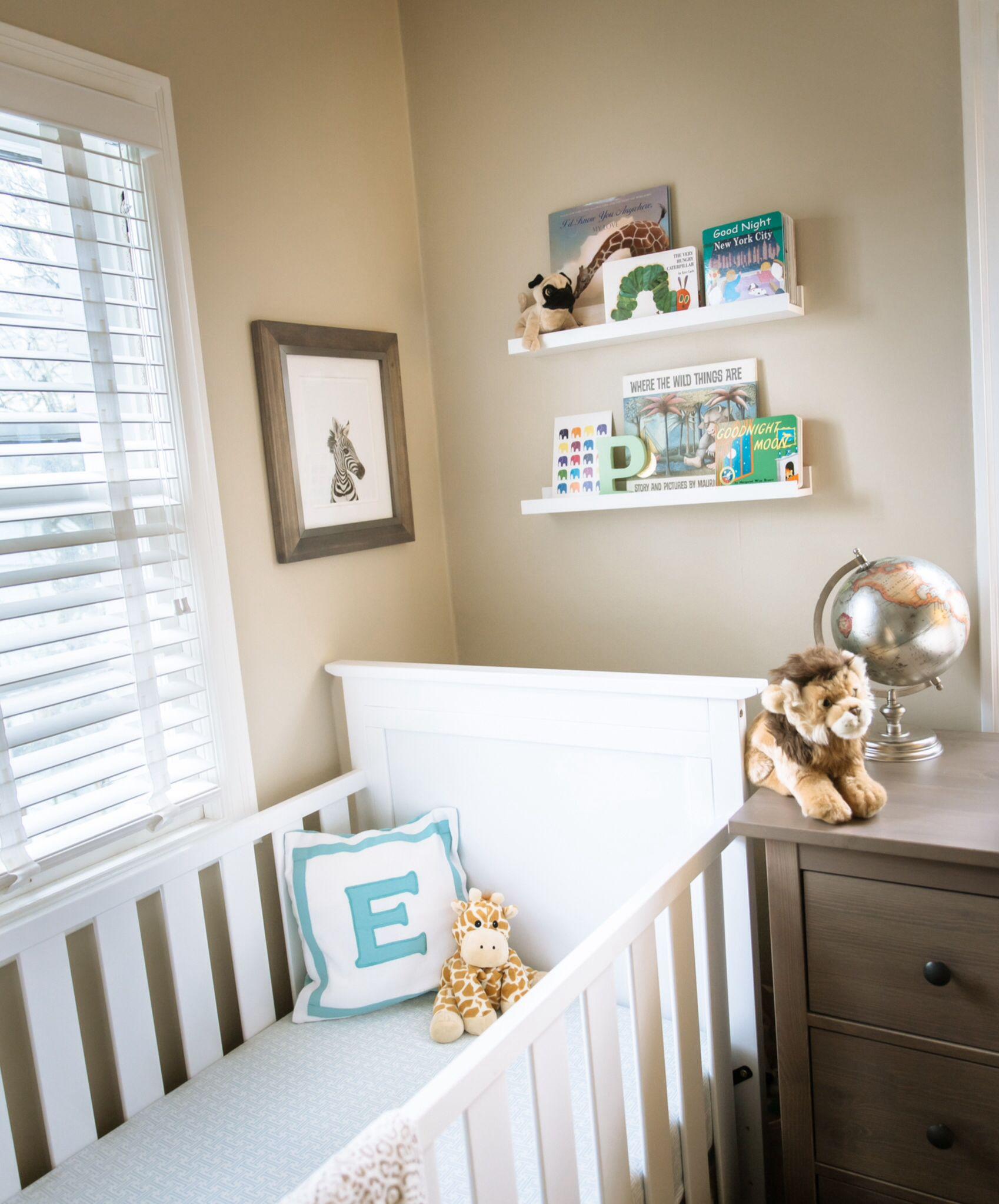 Everett's safari nursery crib and book shelves