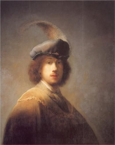 Self-portrait with Plumed Beret - Rembrandt 1629