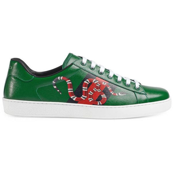 b22b480edda Gucci Web And Snake Leather Sneaker ( 515) ❤ liked on Polyvore featuring  men s fashion
