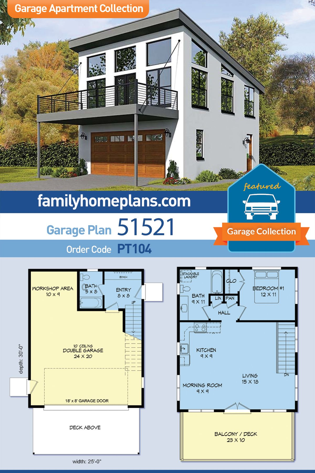 Modern Style Garage Living Plan 51521 With 1 Bed 2 Bath 2 Car Garage Carriage House Plans Garage Plans With Loft Garage Apartment Plan
