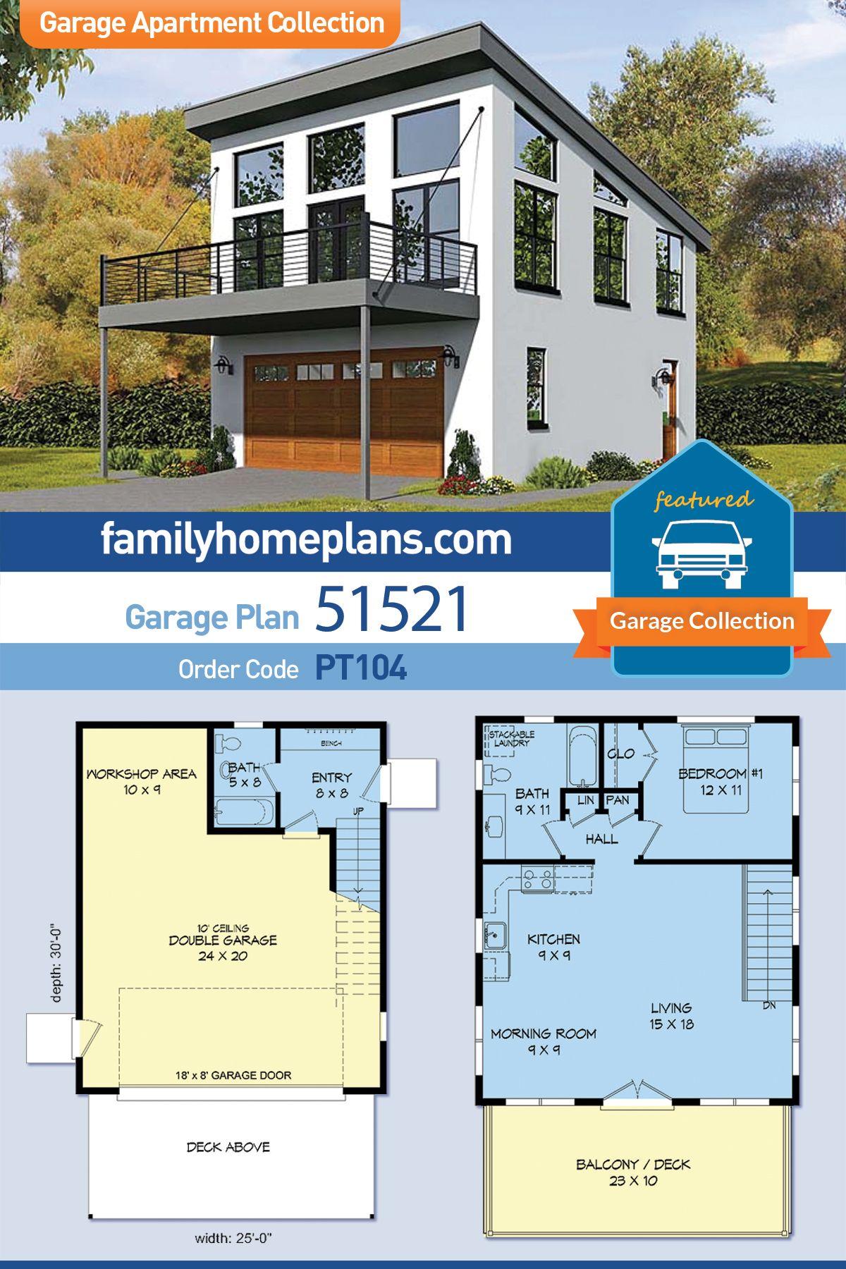Modern Style Garage Living Plan 51521 With 1 Bed 2 Bath 2 Car Garage Carriage House Plans Garage Plans With Loft Garage Apartment Plan
