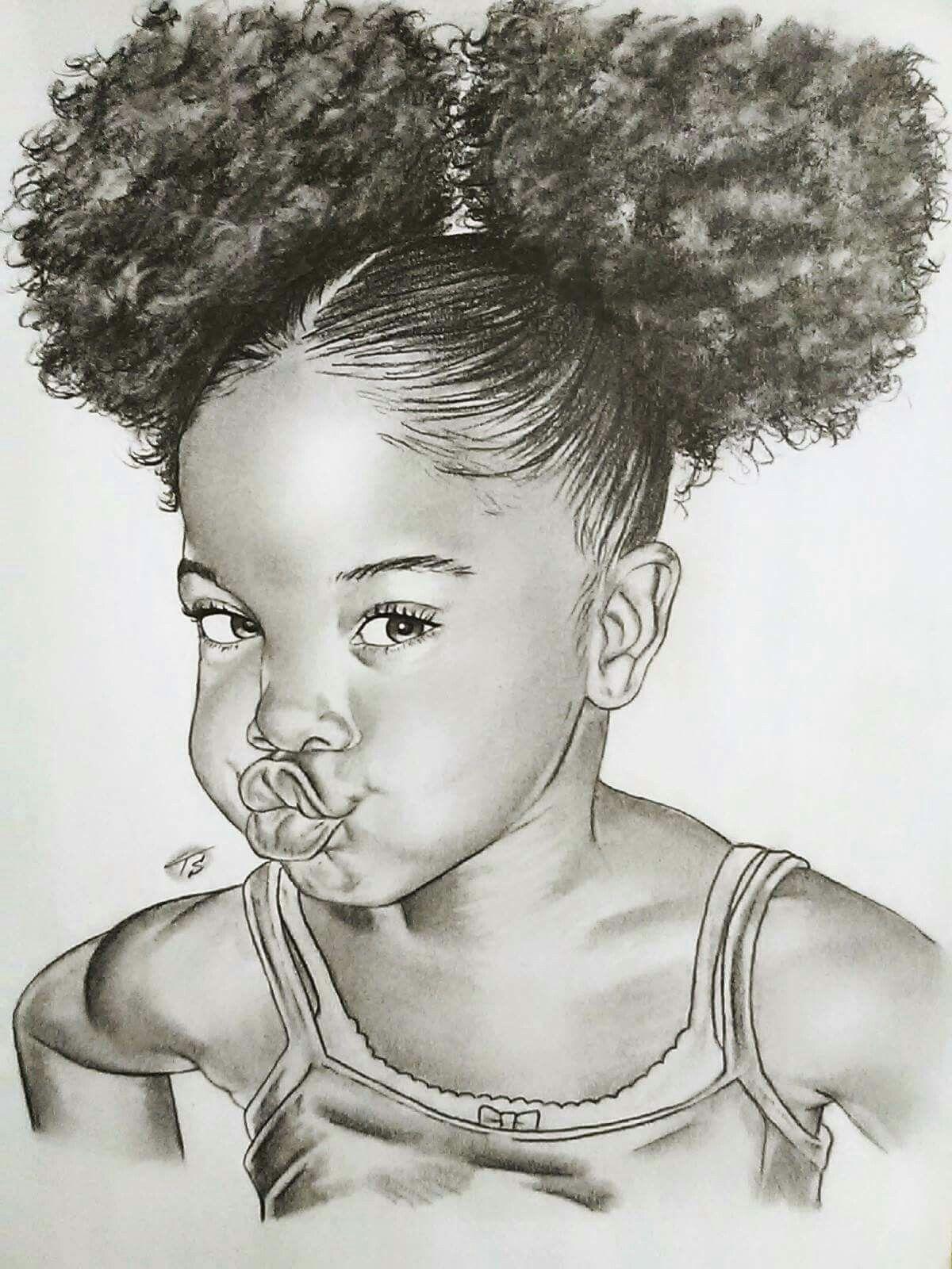 black baby girl image shetced monochrome ART in 2019