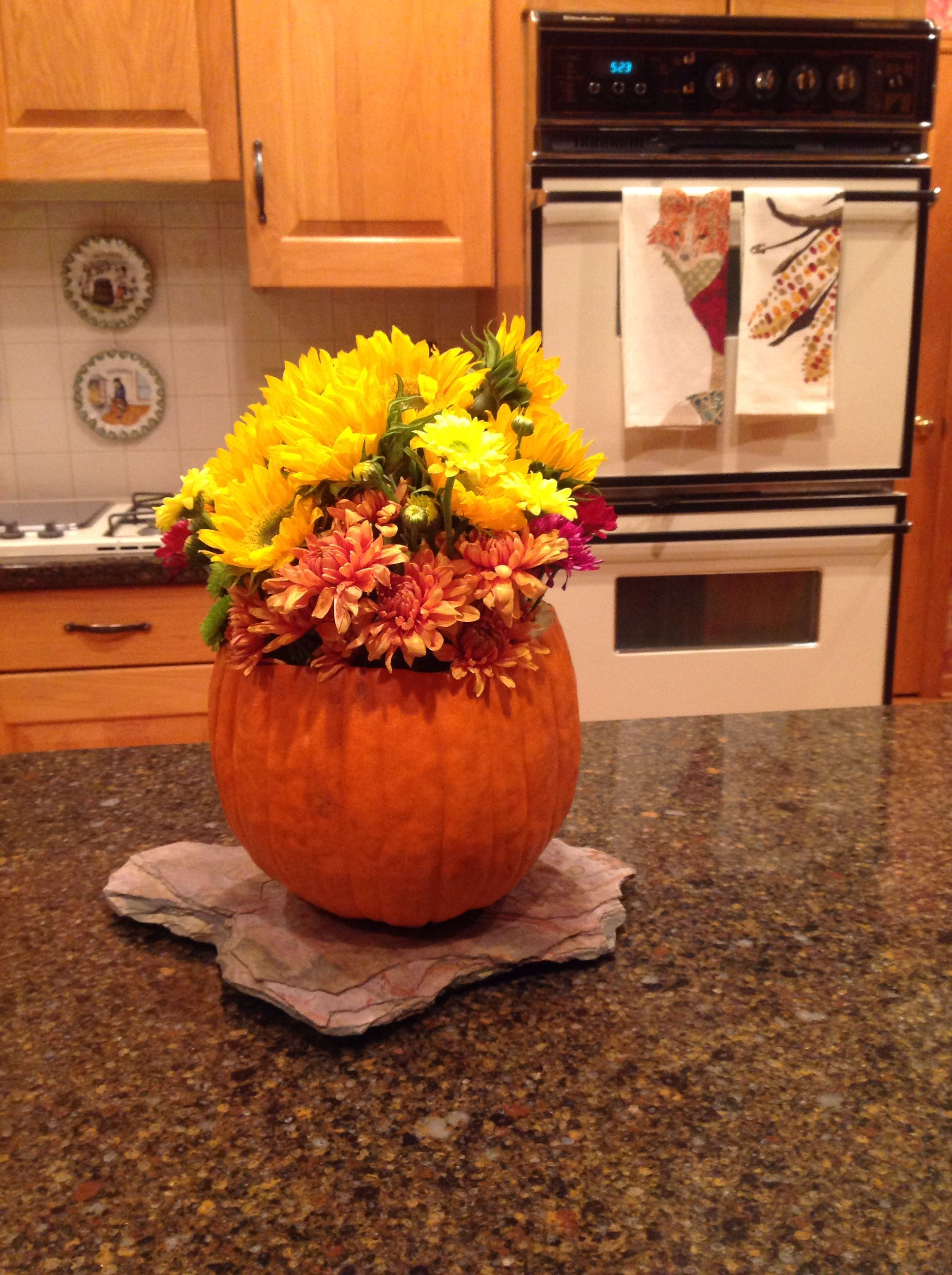 I cleaned out the inside if the pumpkin then put a vase inside a i cleaned out the inside if the pumpkin then put a vase inside a plastic reviewsmspy