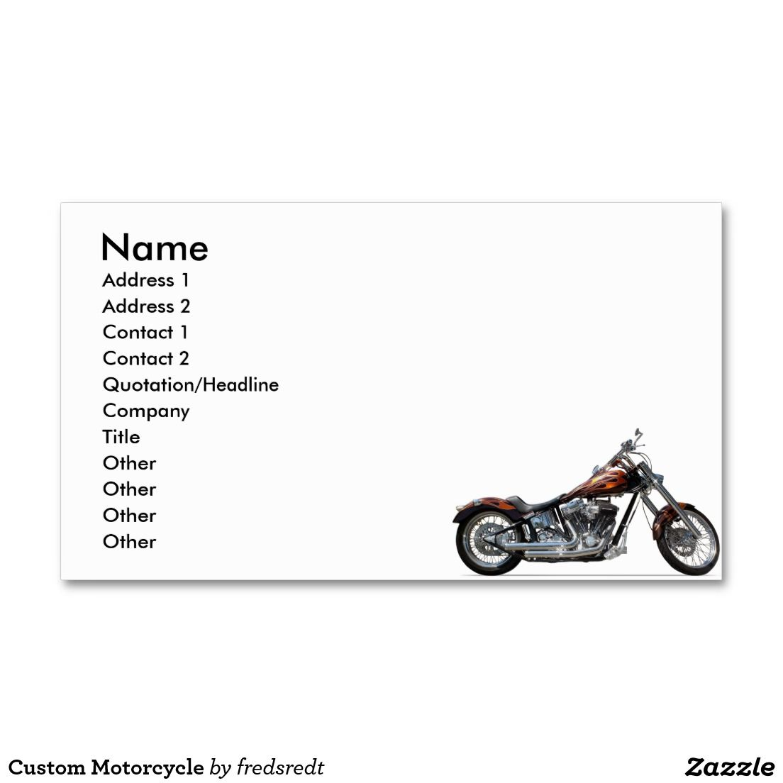 Custom Motorcycle Business Card Motorcycle Themd Business Cards