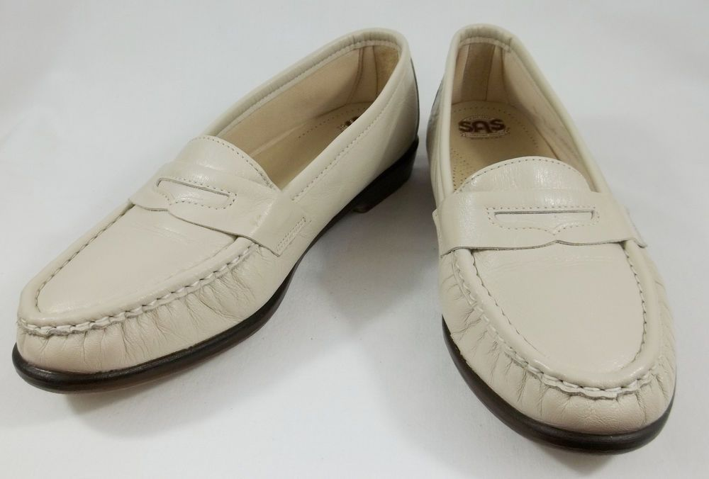 b7dd2f3eaec9 SAS Tripad Comfort Shoes Womens 8 W Light Beige Cream Leather Comfort  Loafers  SAS  LoafersMoccasins