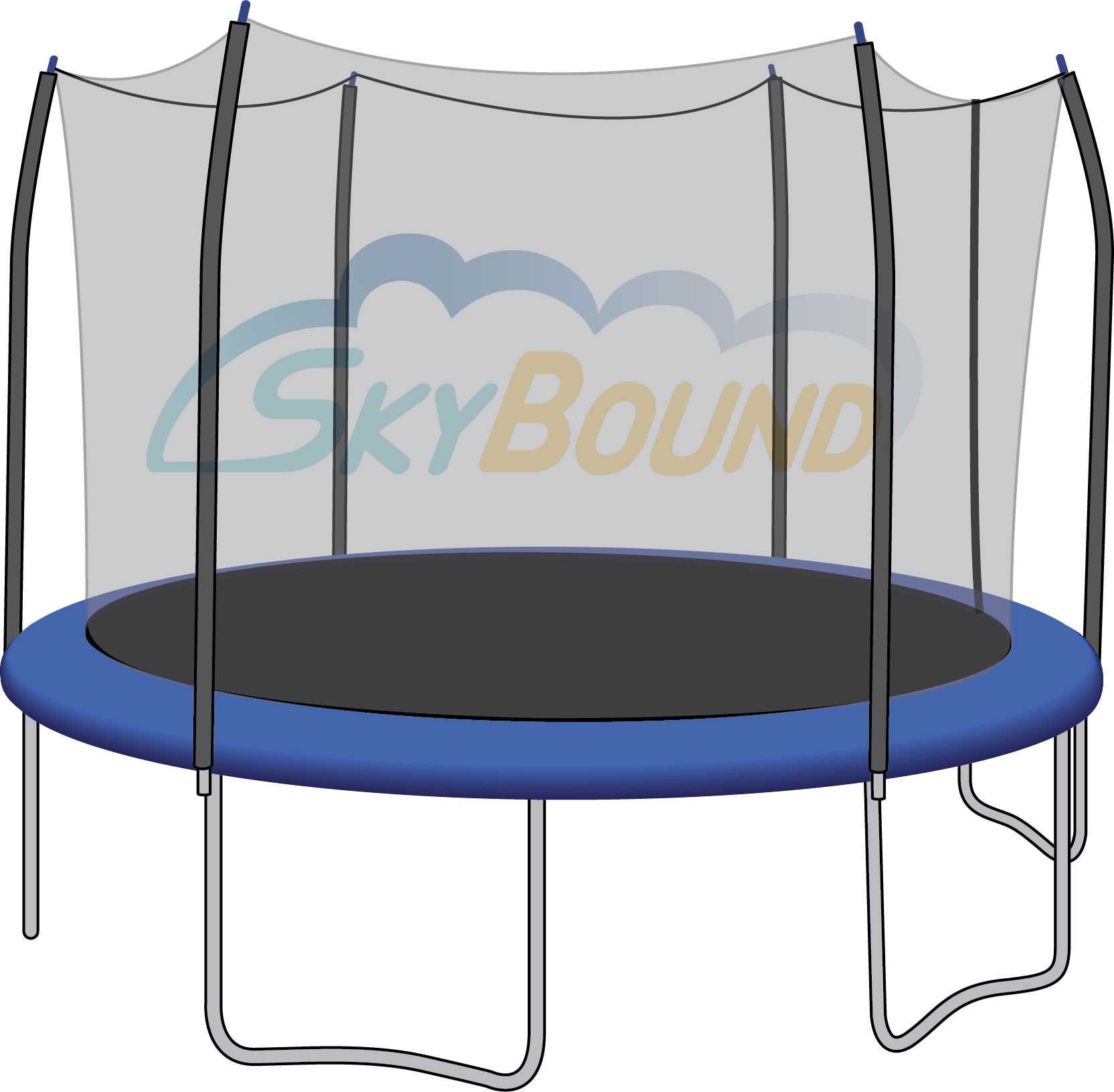 Skybound 12ft Trampoline Net Fits Skywalker Brand With 6 Straight Curved Pole Enclosures Using Blue Pole Caps Trampoline Trampoline Safety Backyard Trampoline