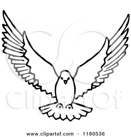 Clip art of dove in flight