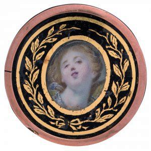 ca late 18th c. copper button with hand painted center plaque (probably porcelain) - the painting is attributed to Fragonard, a famous French 18th c. artist. Black and gilt gold paint around center plaque. French