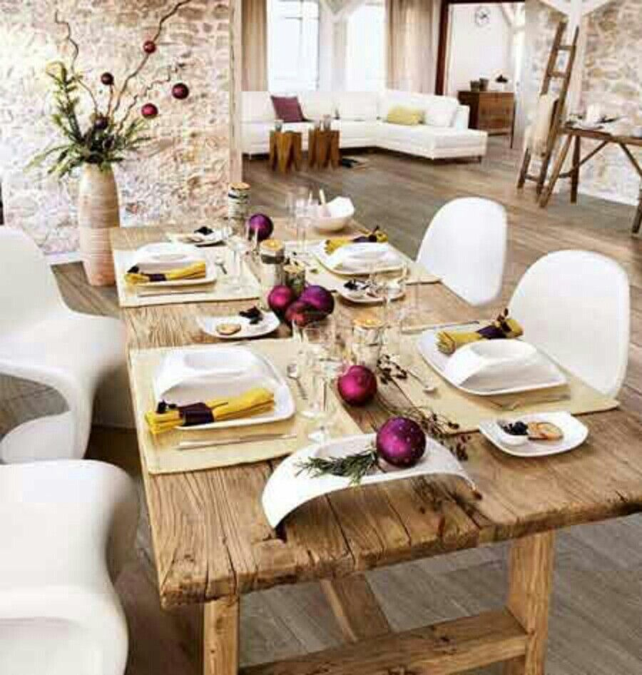 Chairs cool holiday rustic wood dining table decoration with white dinner set on light brown tablecloth and modern chair wooden laminated flooring ideas also kitchen coffee tables house decor pinterest rh