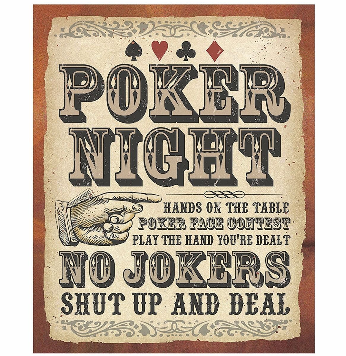 Poker Night No Jokers Retro Metal Sign 30 X 38 Cm Poker Night