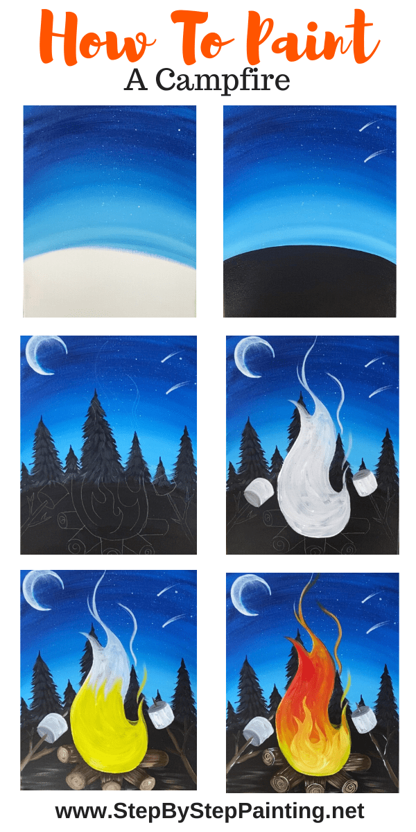 Campfire Painting Step By Acrylic Tutorial For Beginners Diy Art Canvas