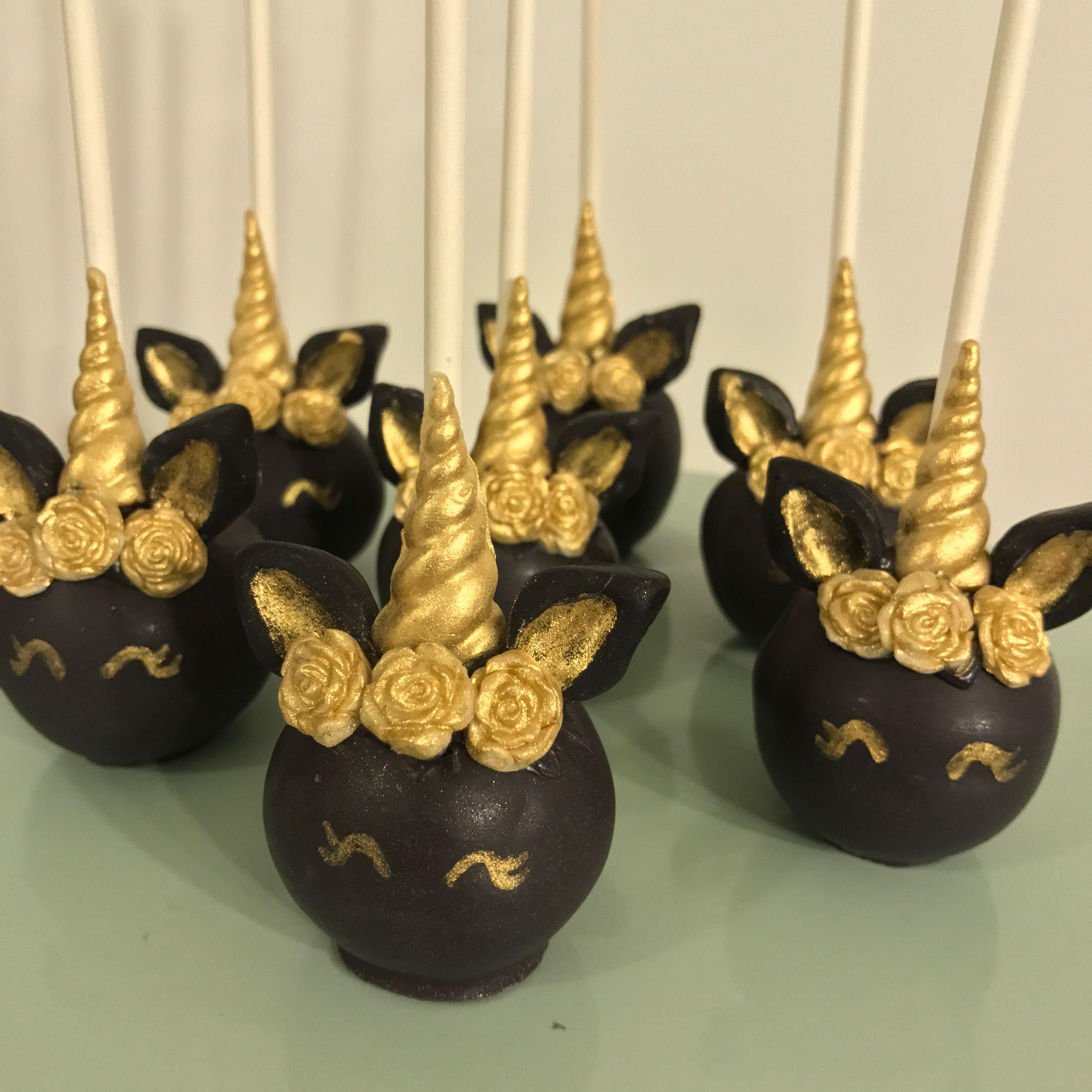 Black And Gold Unicorn Cake Pops Black Unicorn Cake Unicorn