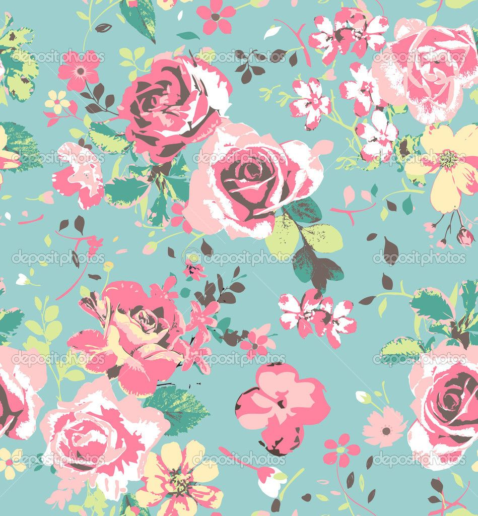 Cabbage Rose Flower Print Purple Abstract Art Kitchen Wall: Seamless Pink Vintage Rose Pattern On Green Blue