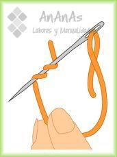 punto de nudo francés: enrollar hilo en la aguja