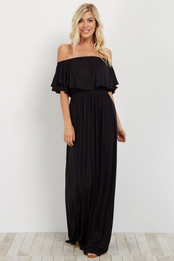 ae8d32de12de Black Off Shoulder Maternity Maxi. Black Off Shoulder Ruffle Trim Maxi Dress  ...