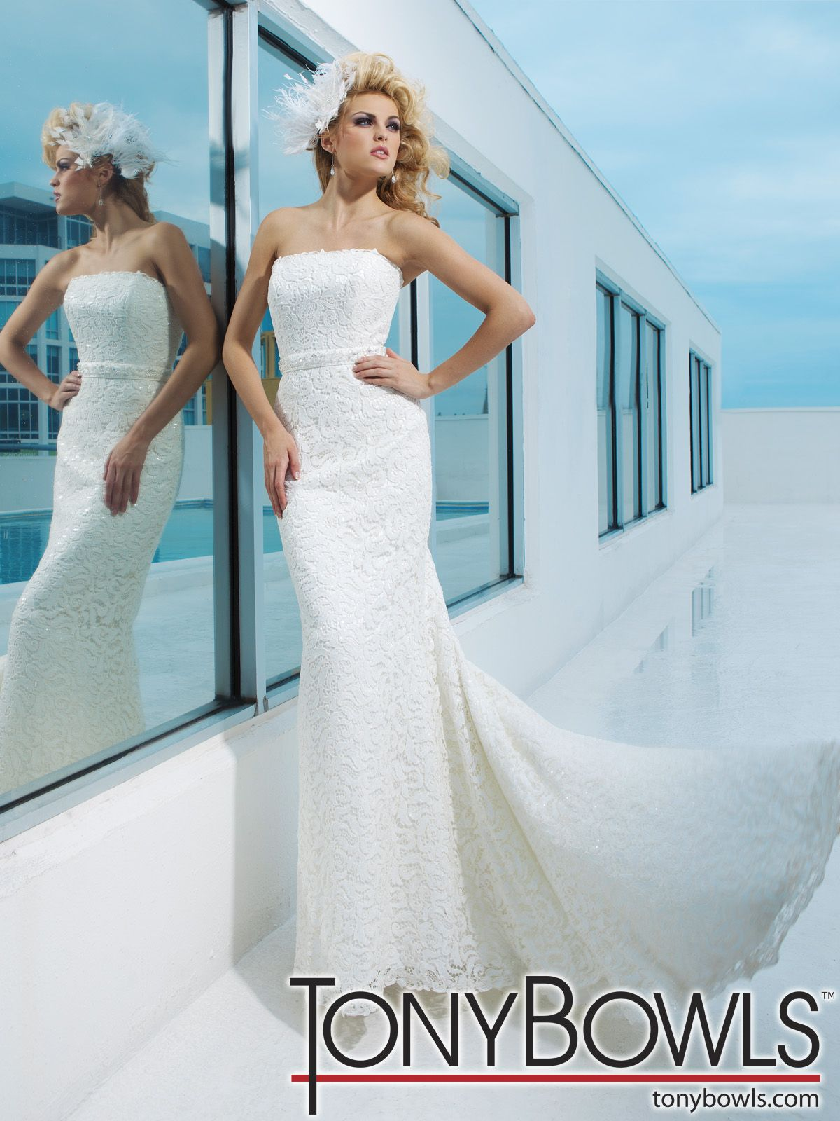 Strapless venise lace over sequined satin modified mermaid gown with