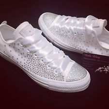 Wedding Bridal Converse Trainers Mono White Bling Personalised 3 4 5 6 7 8 9 56f9234e69