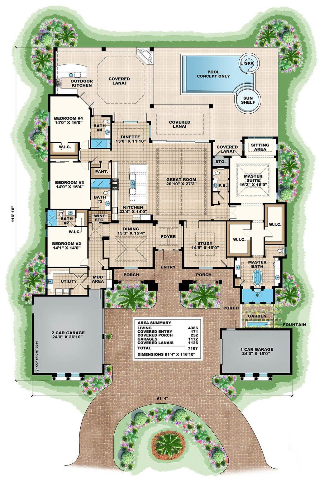 Mediterranean Style House Plan 4 Beds 4 50 Baths 7107 Sq Ft Plan 27 502 Mediterranean Floor Plans Mediterranean Style House Plans Mediterranean House Plans