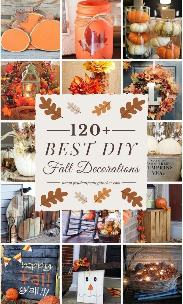 120 Best DIY Fall Decor Ideas is part of Fall decor diy - From centerpieces and mantel decor to wreaths and outdoor fall decorations, you will find the best DIY fall decor ideas to decorate every inch of your home!