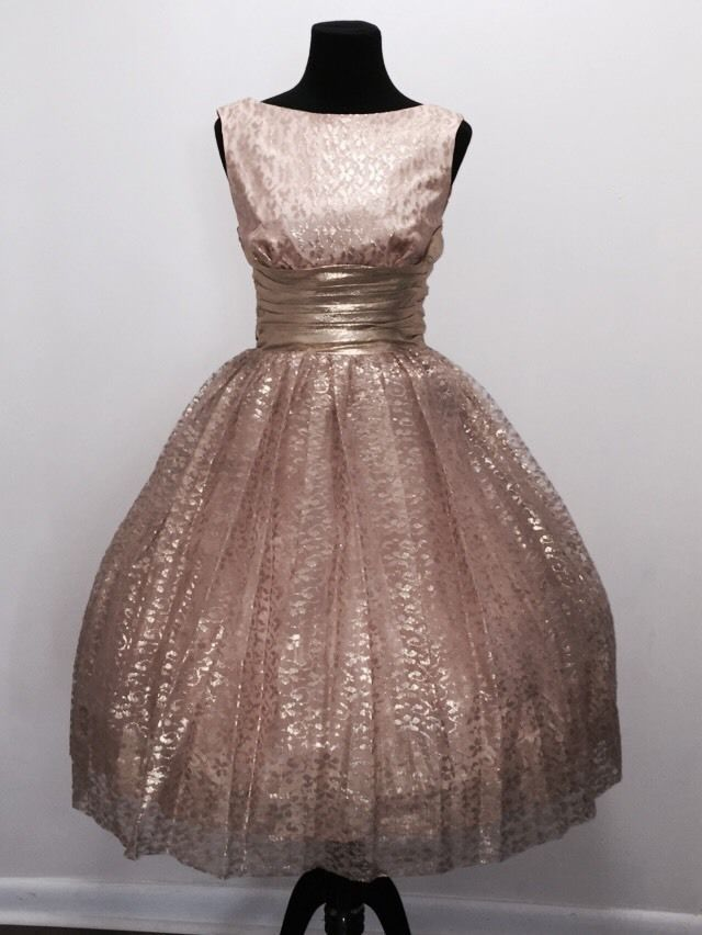Vtg 50s 60s Gold Lace Party Prom Bombshell Dress Bust 35 Waist 27 Flawless!