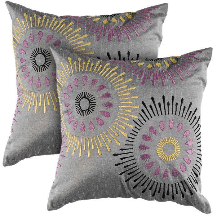 Kendra Pillow Rizzy Home On Joss Main Purple Decorative Pillows Silver Pillows Throw Pillows