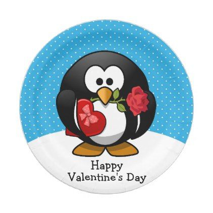 Valentine Penguin With Chocolate And Roses Gift Paper Plate   Home Gifts  Ideas Decor Special Unique Custom Individual Customized Individualized |  Pinterest