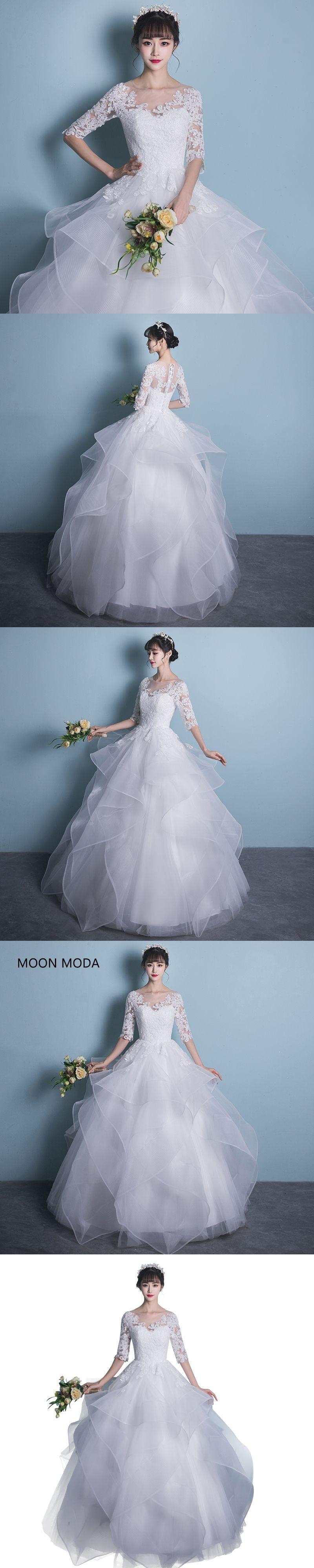 Long half sleeve muslim lace wedding dress high quality bride