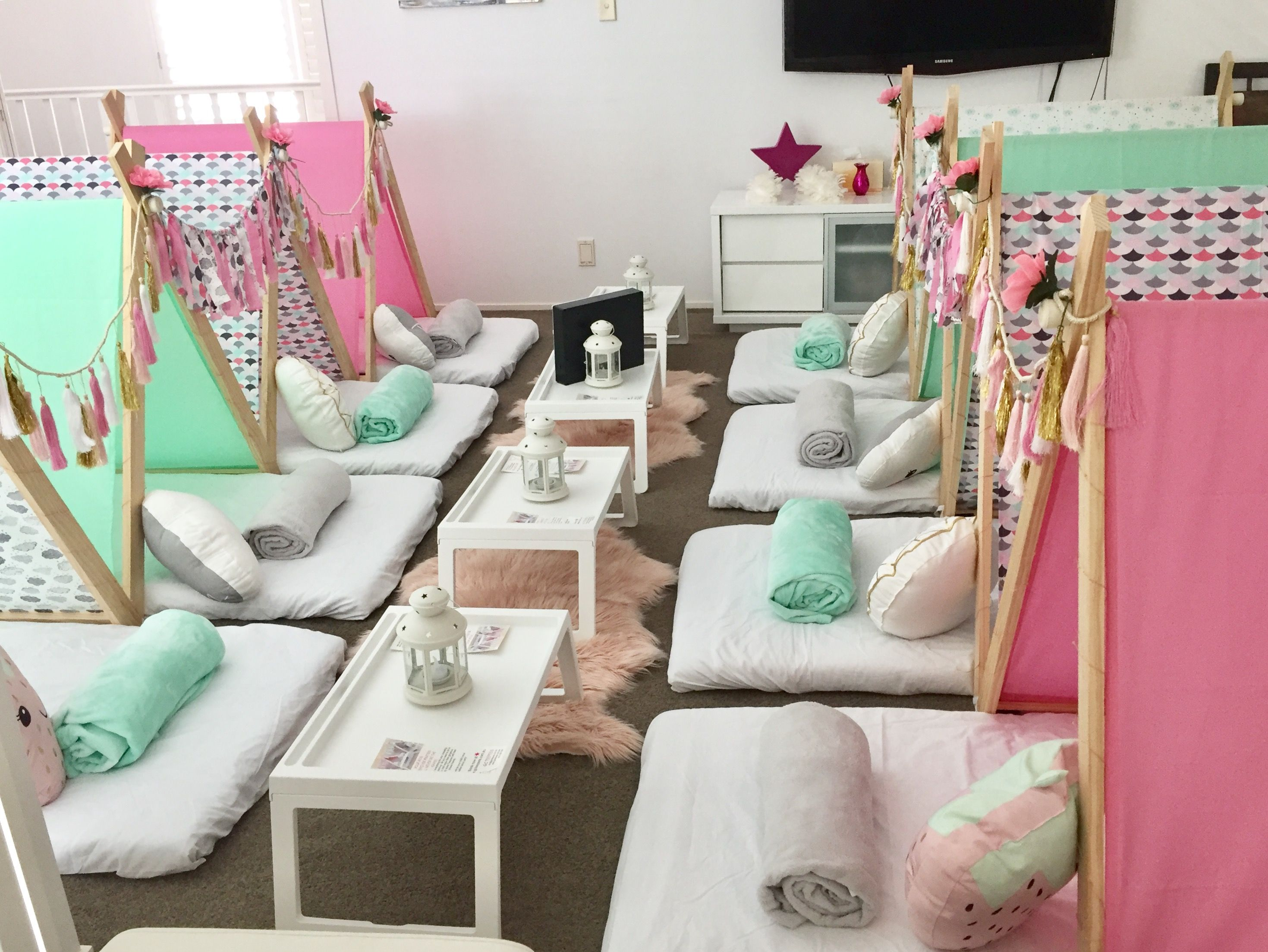 Pin By The Prince And The P On P S 8th Birthday Party In 2020 Slumber Party Birthday Spa Sleepover Party Teepee Party