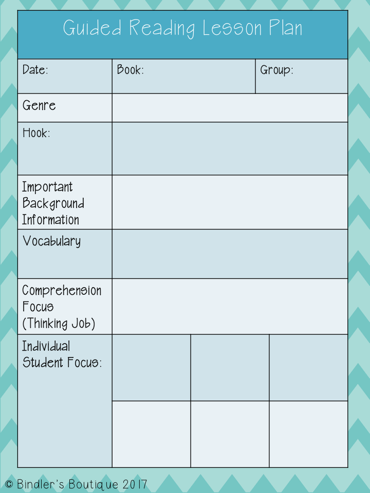 Guided Reading Lesson Plan Template Editable  Guided Reading