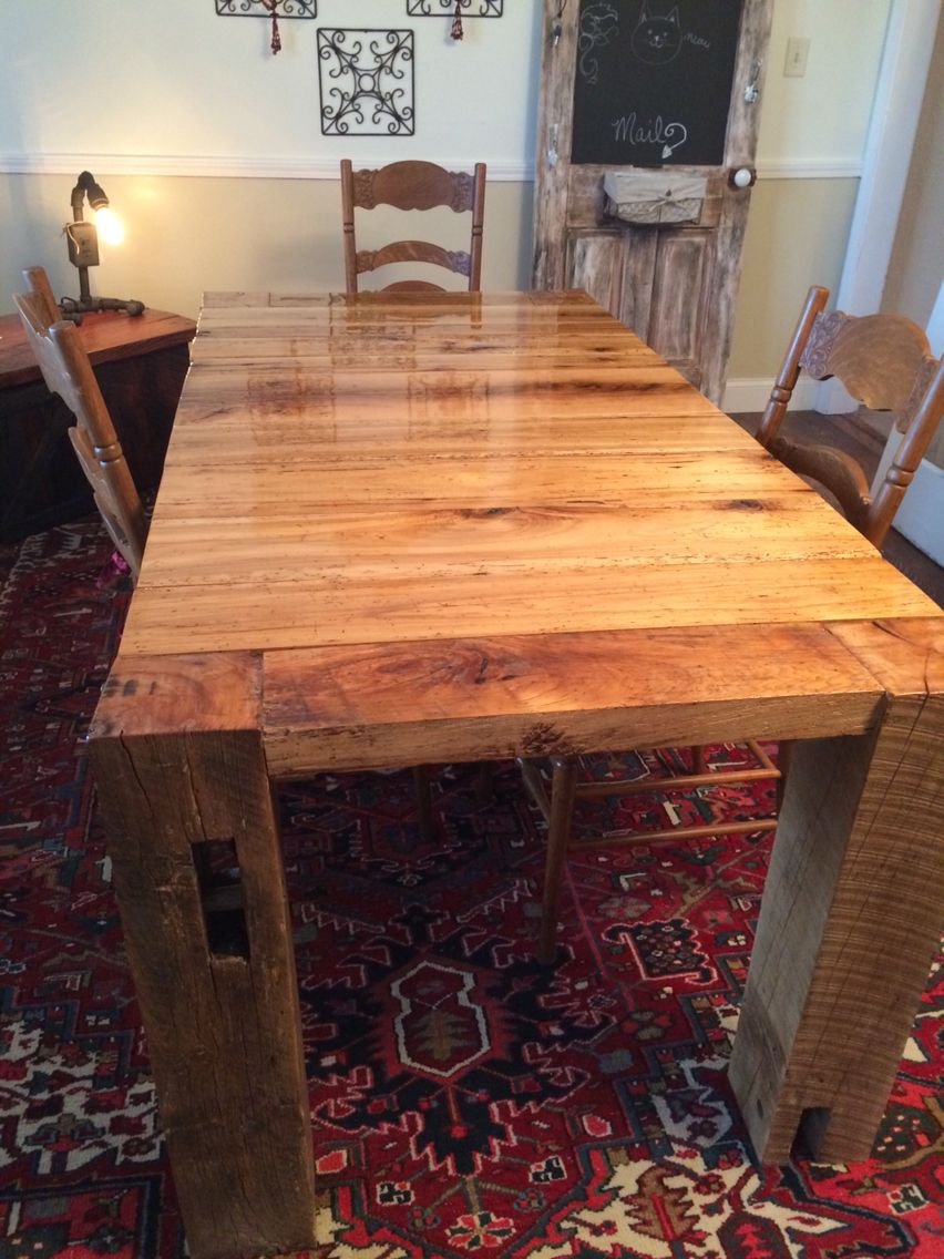 Barn table. 6x6 beams legs. Epoxy top coat for child proof ...