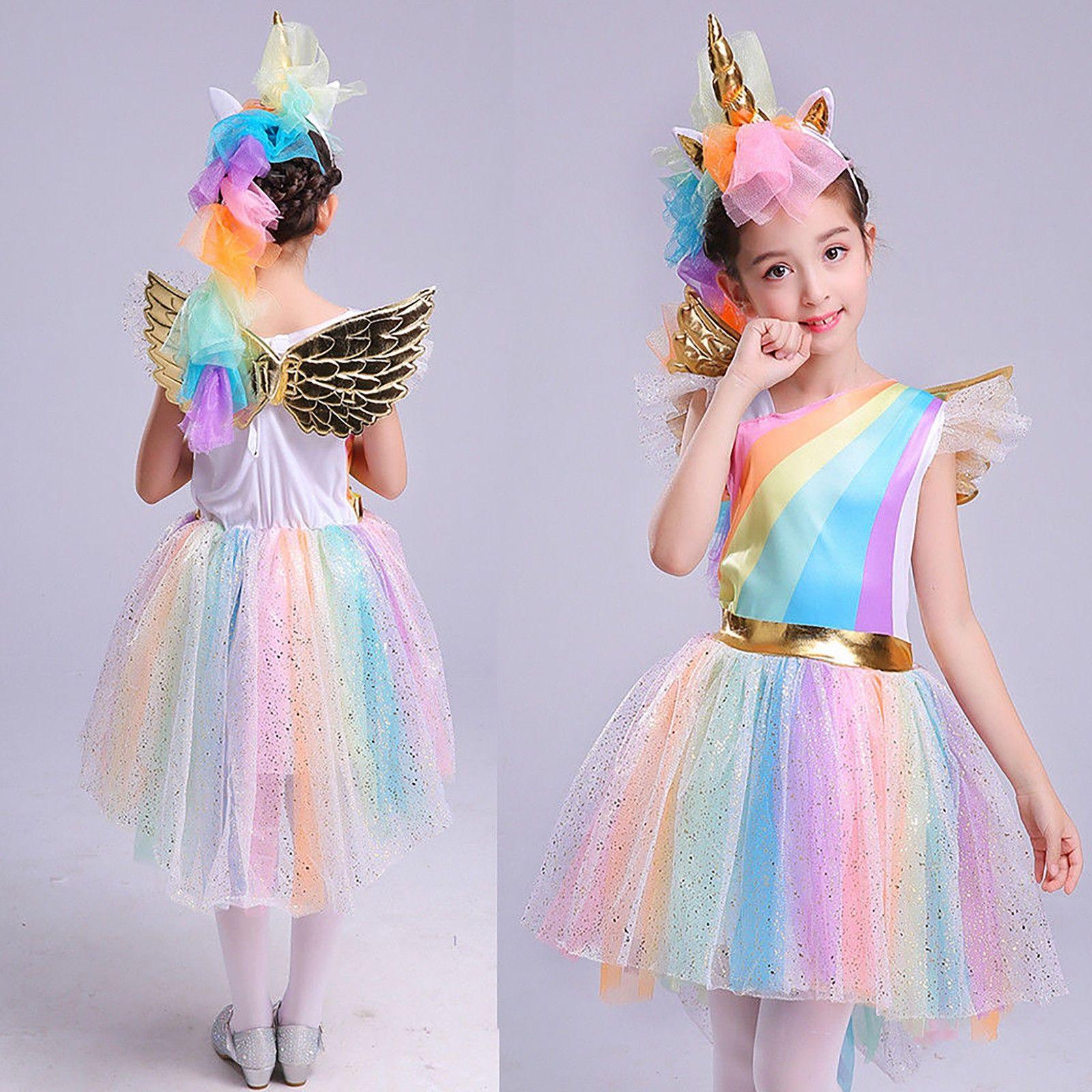 Rainbow Unicorn Costume Kids Halloween Fancy Dress