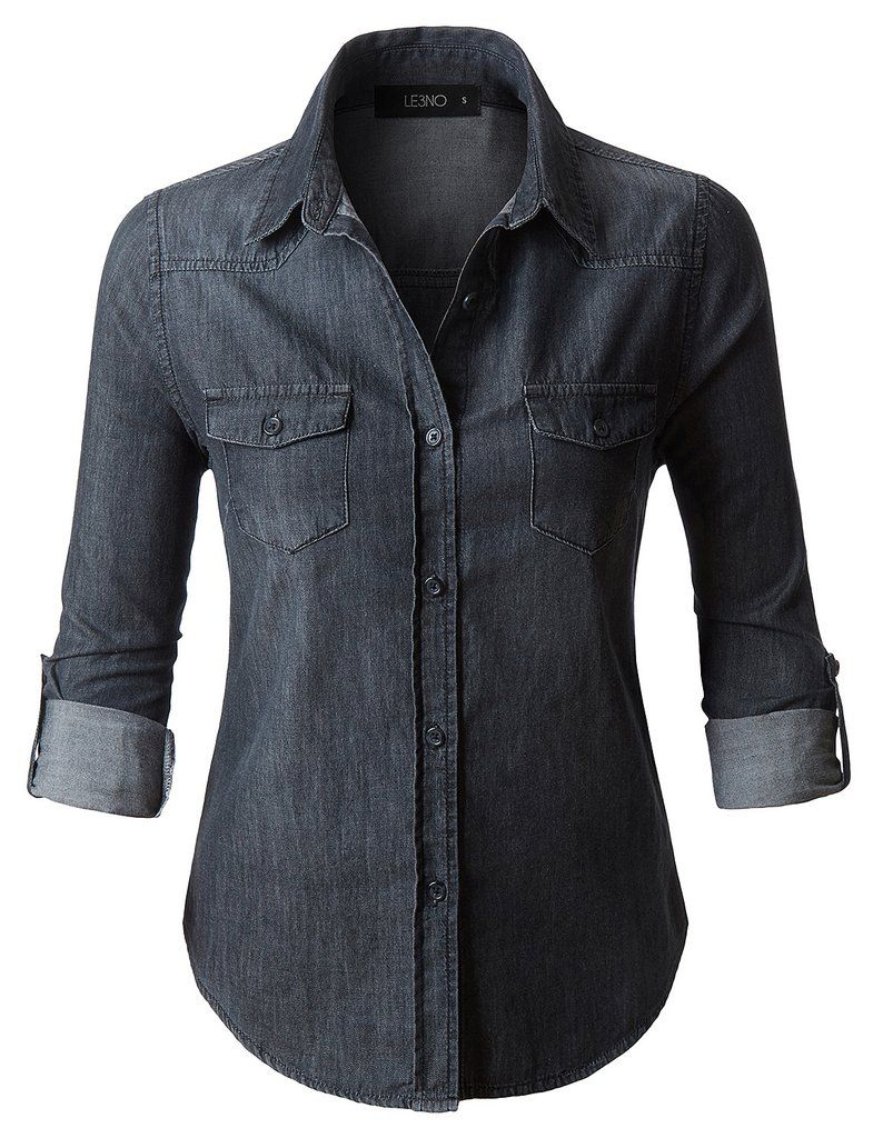 Le3no Womens Vintage Black Distressed Long Sleeve Button Down Denim Shirt Top Vintage Denim Shirt Black Denim Shirt Fashion [ 1024 x 785 Pixel ]