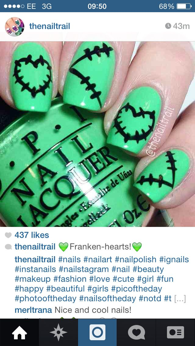 Cute Bride Of Frankenstein Nails Nail Art Pinterest Frankenstein